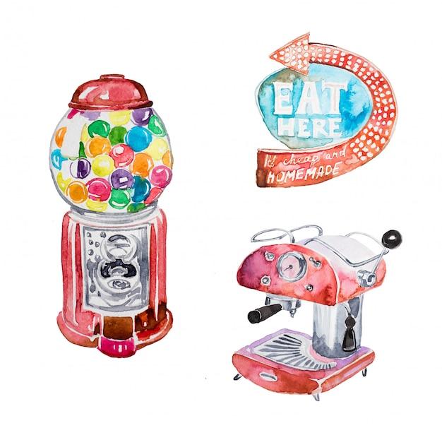 Zestaw ręcznie malowane akwarela retro clipart. retro gumowa maszyna, rocznik kawowy maszyna, retro westchnienie ilustracja odizolowywająca.