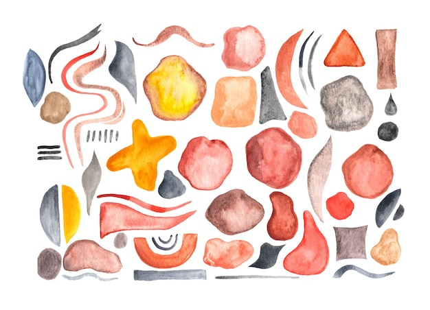 Zestaw ręcznie malowanych akwarelowych geometrycznych kształtów i pociągnięć pędzlem