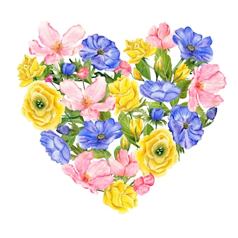 Zestaw ręcznie rysowane kwiaty akwarela na białym tle w kształcie serca.