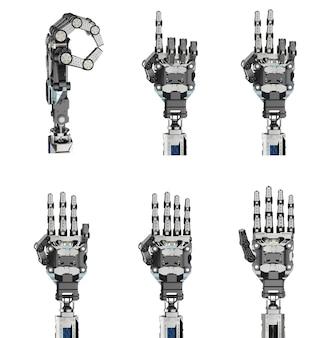 Zestaw renderowania 3d cyborga liczy od zera do pięciu na białym tle