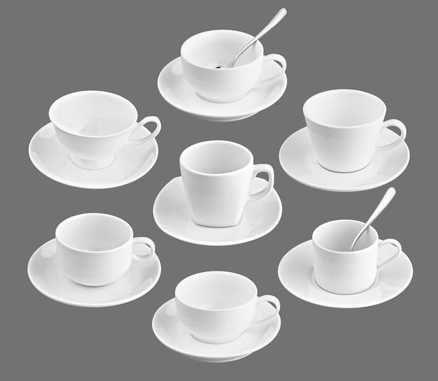 Zestaw różnych filiżanek kawy