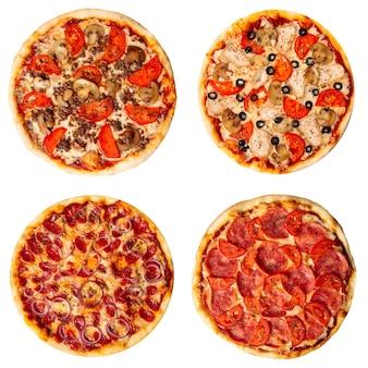Zestaw różnych kolaży pizzy na białym tle
