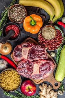 Zestaw różnych produktów dla zdrowej diety