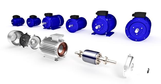 Zestaw różnych przemysłowych silników elektrycznych. zdemontowany silnik elektryczny