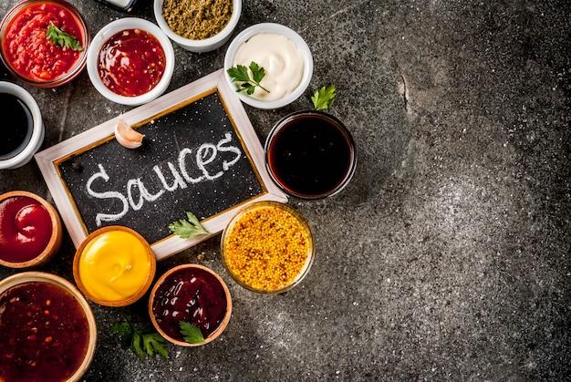 Zestaw różnych sosów