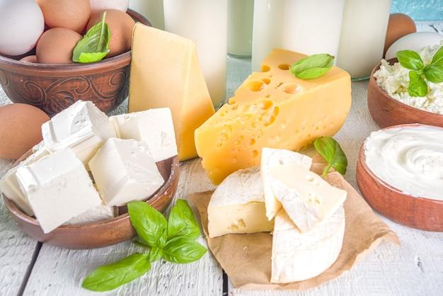 Zestaw różnych świeżych produktów mlecznych