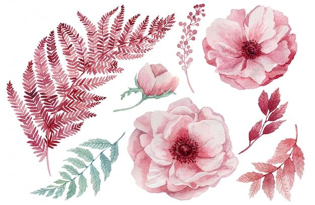 Zestaw różowych i niebieskich liści tropikalnych. dżungla, botaniczne ilustracje akwarela, elementy kwiatowe, liście palmowe, paproć i inne. ręcznie rysowane akwarela zestaw liści i roślin domowych