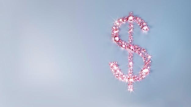 Zestaw różowych kamieni szlachetnych rozrzuconych na powierzchni w postaci znaku dolara. ilustracja 3d