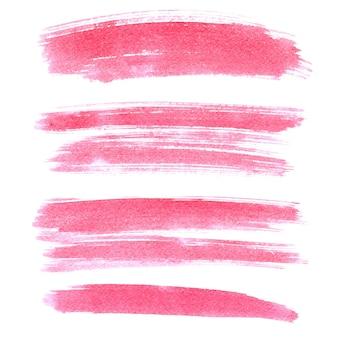 Zestaw różowych pociągnięć pędzlem na białym tle na białym tle. żywe elementy do swojego projektu