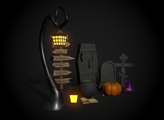 Zestaw rzeczy do renderowania 3d na halloween