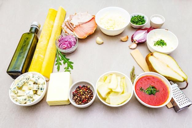 Zestaw składników do quiche