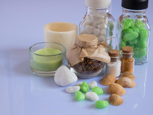 Zestaw składników i przypraw do aromaterapii i pielęgnacji ciała spa martwa natura
