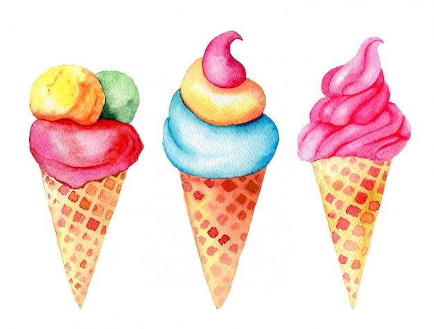 Zestaw słodyczy: wanilia, truskawka, pistacje, lody miętowe w rożkach waflowych vintage akwarela ilustracja na białym tle
