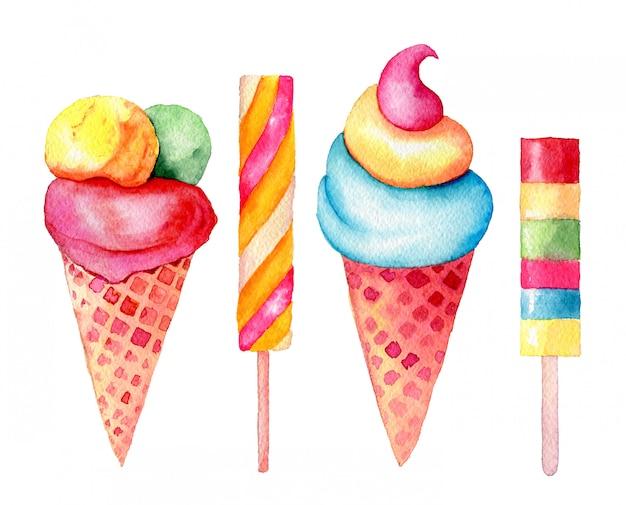Zestaw słodyczy: waniliowy; truskawkowe, pistacjowe, miętowe lody w waflowym rożku i kije vintage akwarela ilustracja na białym tle