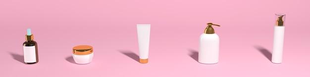 Zestaw słoików kosmetycznych na różowym tle, baner, mocap. wysokiej jakości zdjęcie