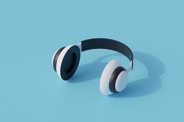 Zestaw słuchawkowy pojedynczy izolowany obiekt. 3d render ilustracji izometryczny