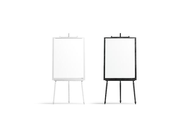Zestaw stojaków na płótno puste czarno-białe malarstwo, na białym tle, renderowania 3d.