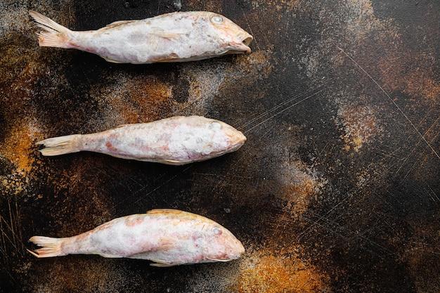 Zestaw surowej ryby koziej mrożonej, na starym ciemnym tle rustykalnym tabeli, widok z góry płasko leżał, z kopią miejsca na tekst