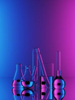 Zestaw szkła laboratoryjnego na niebieskim tle neon. 3d renderowania ilustracja.