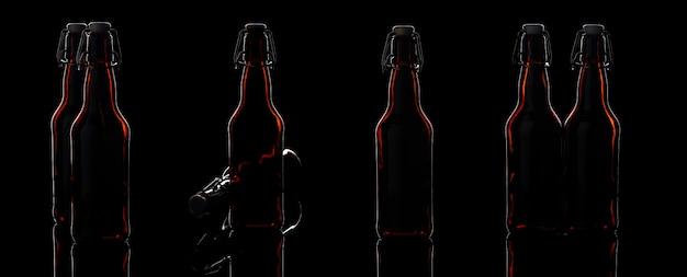Zestaw szklanych butelek piwa
