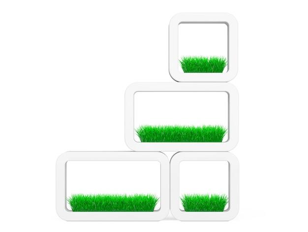 Zestaw trawy w białej ceramiki donice na białym tle. renderowanie 3d