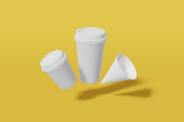 Zestaw trzech białych kubków makiety o różnych rozmiarach - duża, mała i stożkowata mucha na żółtym tle. renderowanie 3d