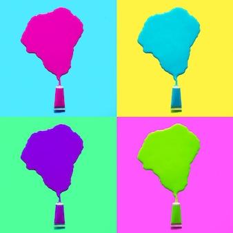 Zestaw tubka farby kwasowej. rozlany. koncepcja kreatywnych kolorów