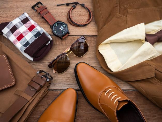 Zestaw ubrań i akcesoriów mody męskiej