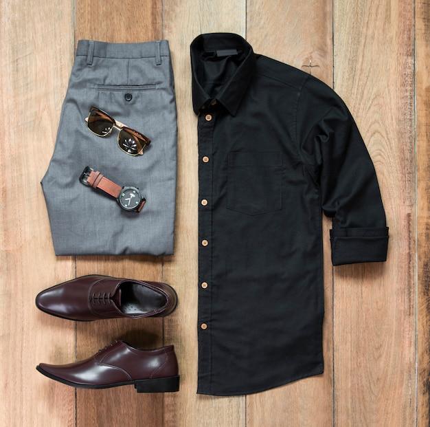 Zestaw ubrań i akcesoriów mody mężczyzna