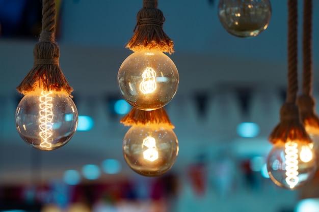 Zestaw vintage retro świecące żarówki