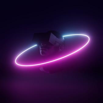 Zestaw vr head futurystycznej cyber koncepcji wizualnej światło neonowe