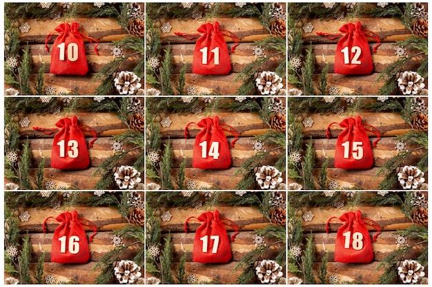 Zestaw widoku kolekcji kalendarza adwentowego