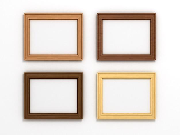 Zestaw wielokolorowych drewnianych ramek poziomych o różnych rozmiarach na białym tle