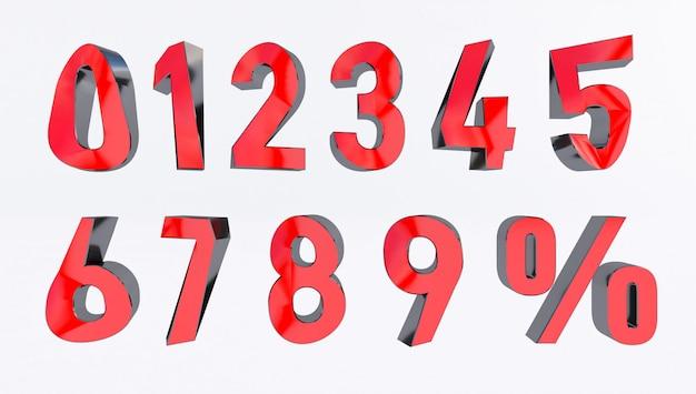 Zestaw wolumetrycznych liczb 3d i znak procentu. renderowanie 3d