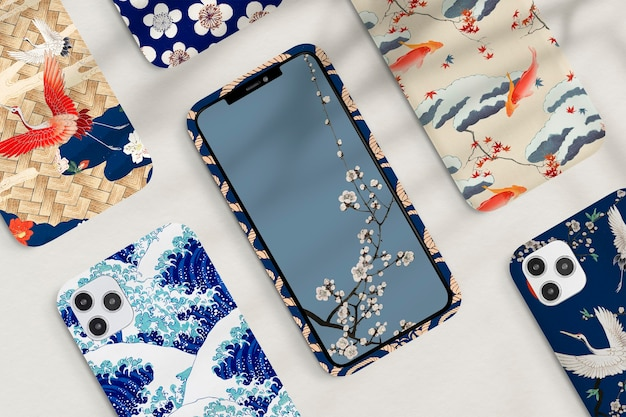 Zestaw wzorów japońskich etui na telefon komórkowy w stylu vintage, remiks grafiki autorstwa watanabe seitei