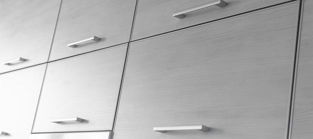 Zestaw zamkniętej szuflady w kuchni, zdjęcie baneru tła nowoczesnego wnętrza mieszkania
