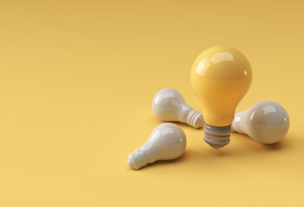 Zestaw żarówki na żółtym tle pastelowych kolorów z cieniem. renderowanie 3d.