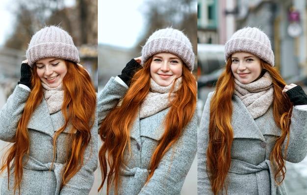 Zestaw zdjęć z pozytywną rudowłosą kobietą korzystającą z ferii zimowych
