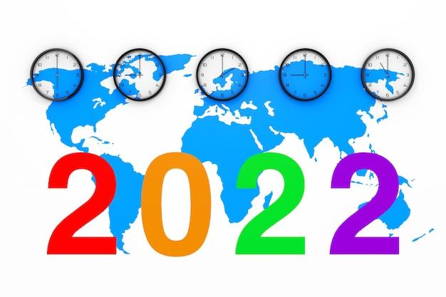 Zestaw zegarów z innym czasem światowym, niebieską mapą świata i znakiem nowego roku 2022 na białym tle. renderowanie 3d