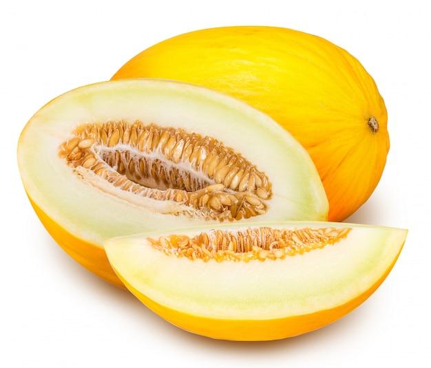 Zestaw żółty melon na białym tle