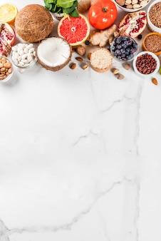 Zestaw żywności ekologicznej zdrowej diety, pożywienie