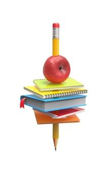 Zeszyty szkolne i jabłko na ołówku na białym tle