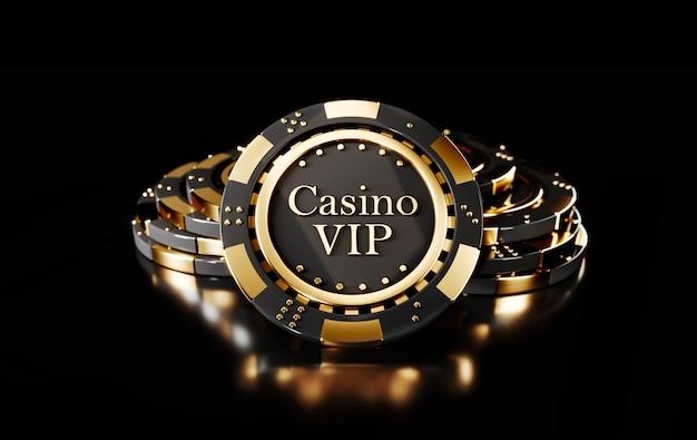 Żetony do pokera w kasynie na czarno