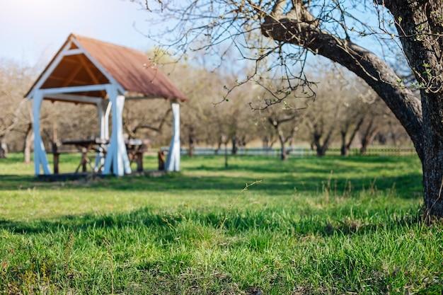 Zewnętrzna drewniana altana na rodzinne obiady na zielonym, wiosennym trawniku wiejskiego podwórka