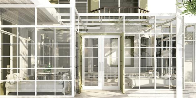 Zewnętrzny szklany dom w ogrodzie przydomowym w nowoczesnym luksusowym stylu klasycznym ze stołem roboczym i kanapą