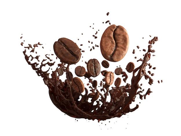 Ziarna kawy i odrobina kawy na białym tle
