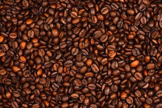 Ziarna kawy tekstura tło widok z góry