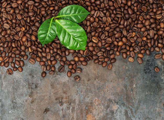 Ziarna kawy z zielonymi liśćmi na nieczystym metalowym tle