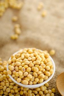 Ziarna soi w misce z miejsca kopiowania. z bliska soi. ziarna suche w talerzu