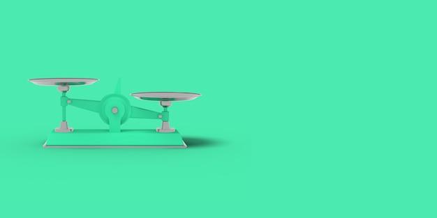 Zieleń waży na zielonym tle. streszczenie niebieski kolor obrazu. minimalna koncepcja biznesowa. renderowania 3d.